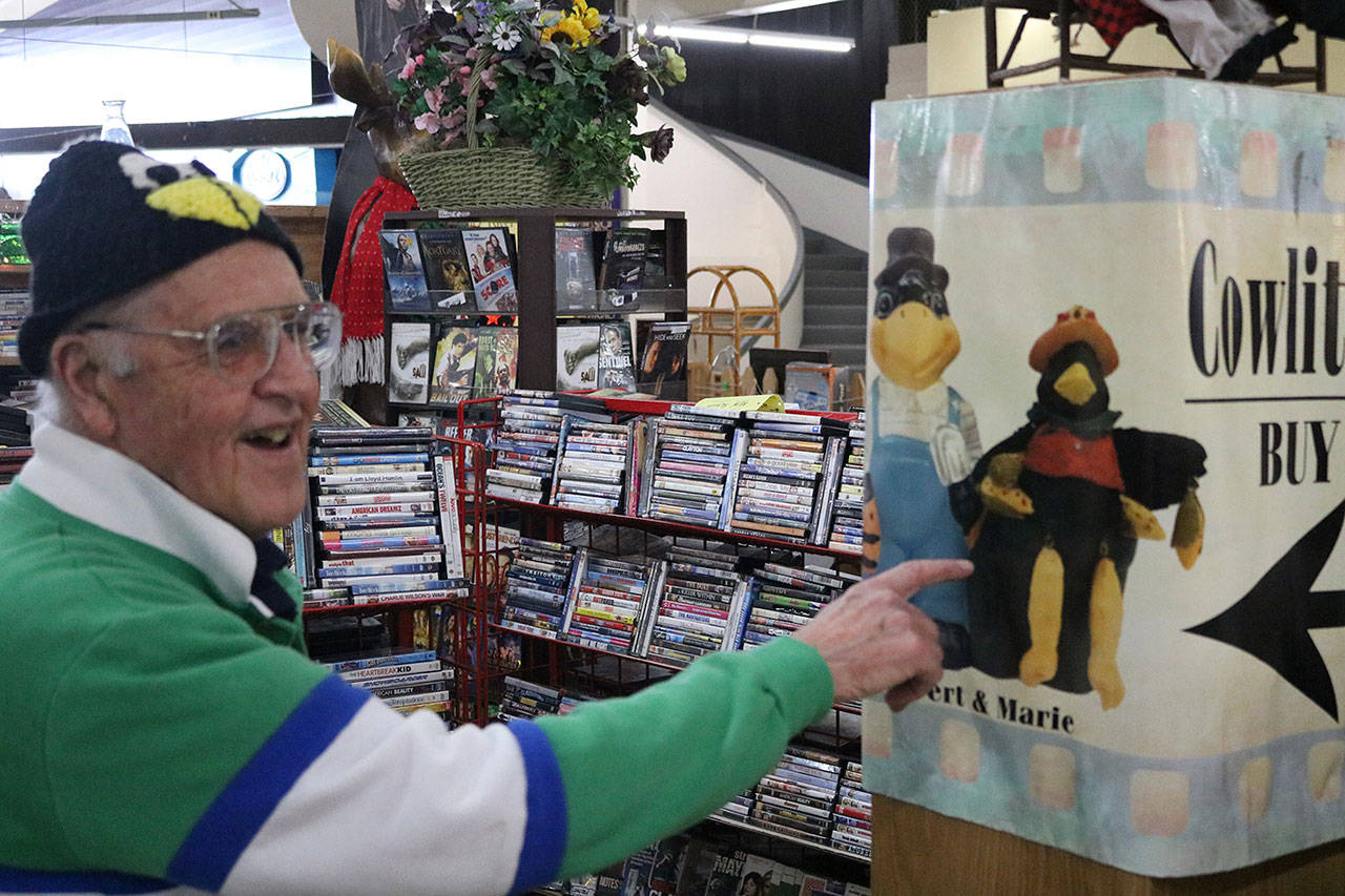 Robert Oberg and his wife own a second-hand DVD shop in Yard Birds Mall in Chehalis around 90 miles south of Seattle. He's lived in the area for decades and has seen the economy take a hit following downturns in the local coal industry. Aaron Kunkler/Staff Photo