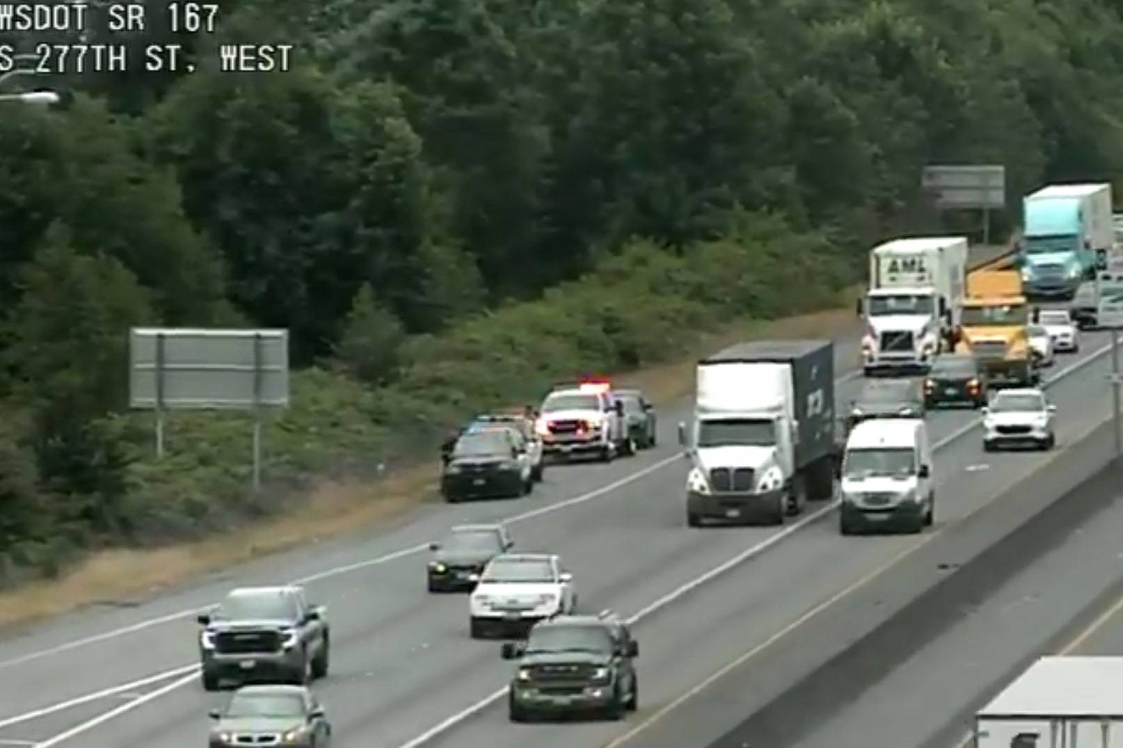 In a Twitter post by WSDOT about 10:30 a.m. Wed., July 7: A vehicle is seen on the shoulder after previously blocking the right lane on northbound SR 167 at South 277th St.